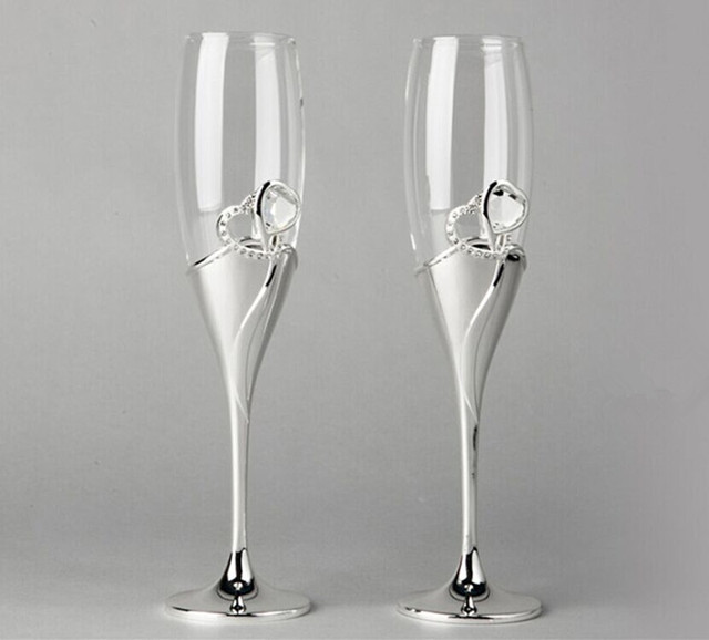 unique champagne flutes. Toasting Wine Glasses Wedding Love Birthday Dining Set Bay Gift High Transparent Unique Metal Heart Champagne Flutes