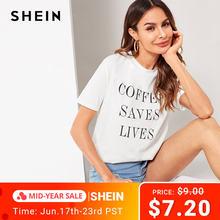 08f2ae33e5 SHEIN Letter Slogan Print Tee Womens Clothing Summer Round Neck Tops 2019  Streetwear Korean Clothes Short