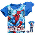 2016 Nueva 2-9 T muchachos del verano de la ropa ocasional de los muchachos cortos Spider-Man camisetas para chicos de moda carácter niños camisetas niño niños