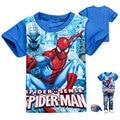 2017 Novo 2-9 T meninos verão T ocasional meninos Spider-Man curta camisas de t para crianças meninos moda streetwear tees caráter criança meninos