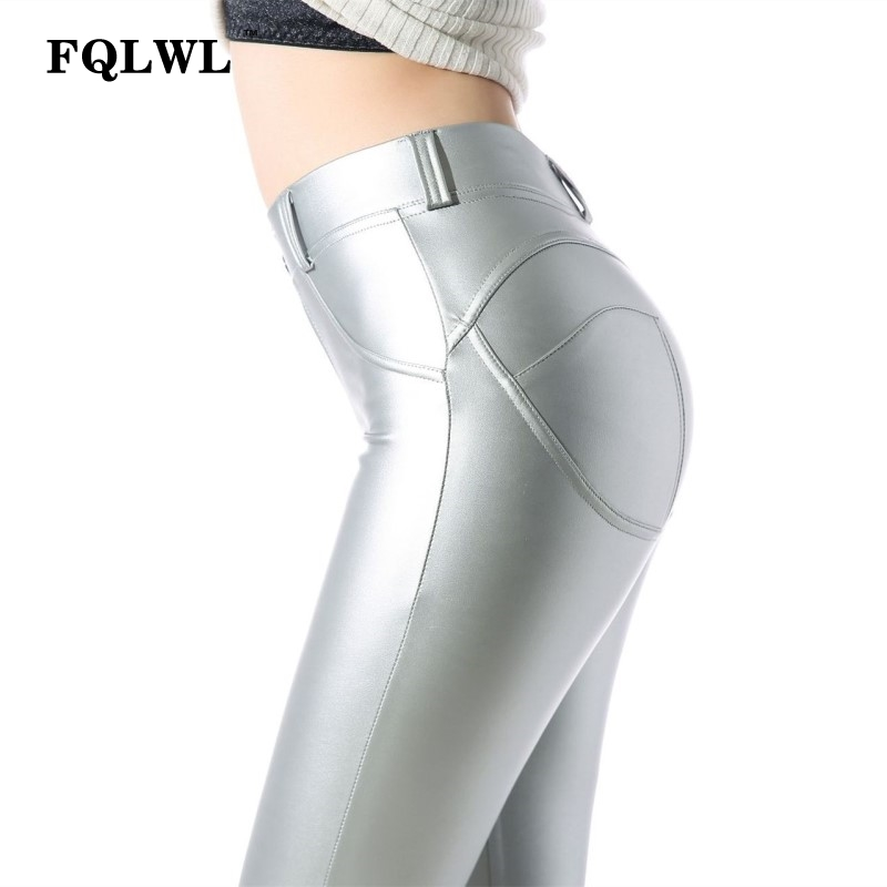 FQLWL Faux Pu Leather Leggings Thick Black Push Up High Waist Leggings Women Plus Size Winter