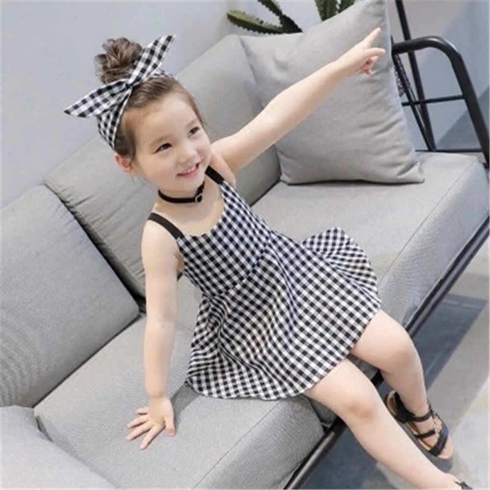9095ebb73b01a Toddler Girls Princess Plaid Strap Dress Kids Baby Sleeveless ...
