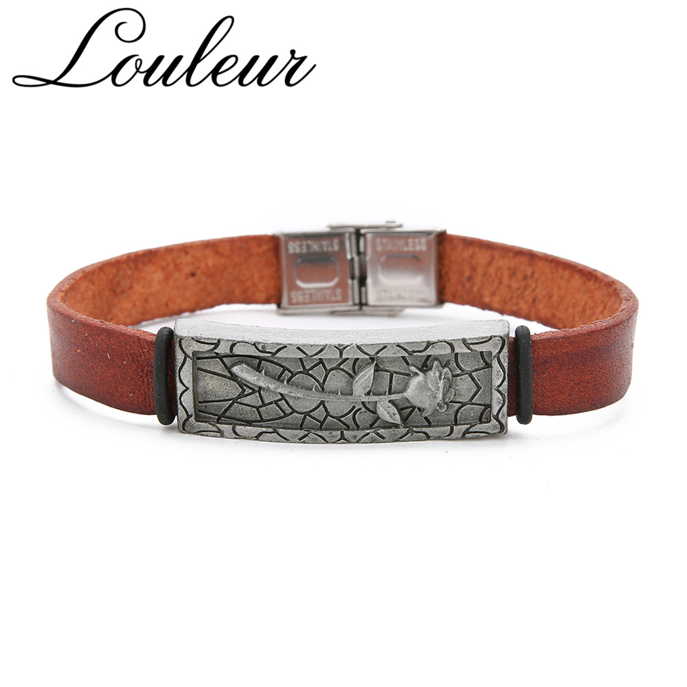 Louleur 2019 New Vintage Engraved Rose Genuine Leather Bracelets For Men Brown Charm Bangles For Lovers' Valentine's Day Gifts