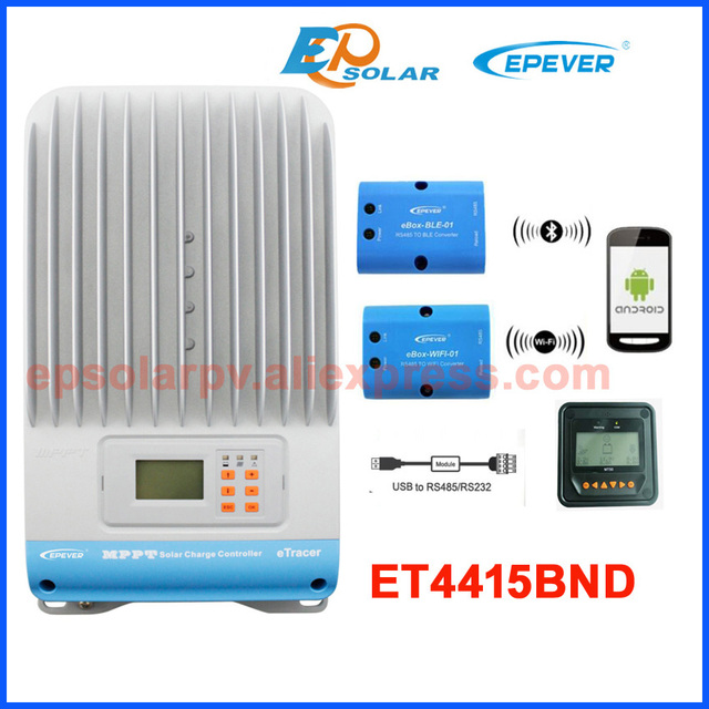 45A MPPT solar charge controller EP eTracerET4415BND 12v 24v 36v 48v auto work with WIFI and Bluetooth communciton function