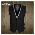 2016 New Style  Mens Vest Business Casual Men's Waistcoat V-Neck Male Business Suit Vest Gray,Black, Asian Size M-3XL