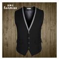 2016 New Style  Mens Vest Business Casual Men's Waistcoat V-Neck Male Business Suit Vest Gray,Black, Asian Size M-3XL