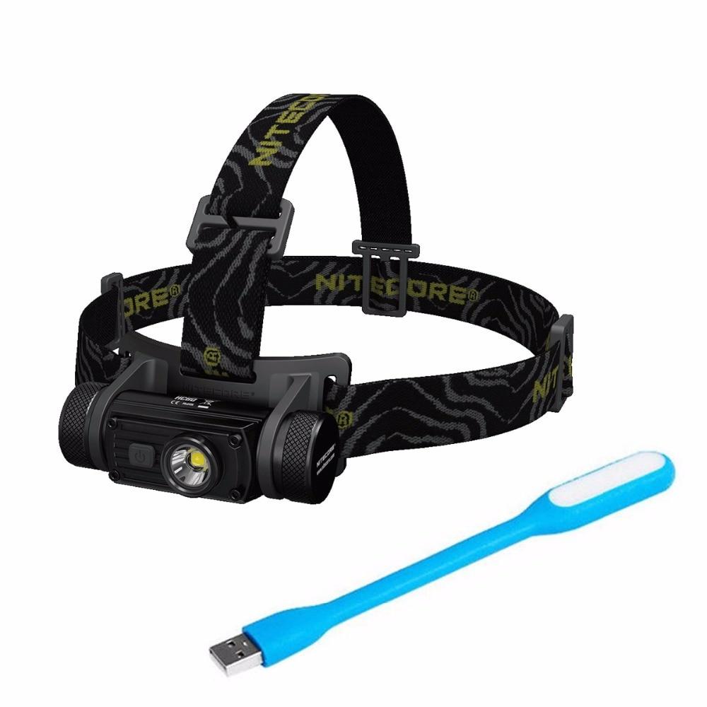 SALE NITECORE HC60 Headlamp CREE XM-L2 U2 1000 Lumens Waterproof Camping Flashlight with USB-Light Without Battery Free Shpping