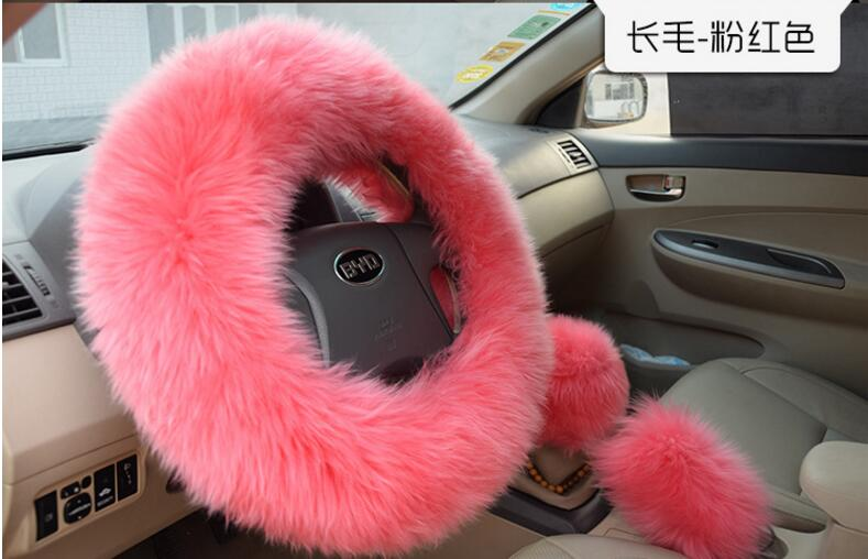 Winter Fur Warm long Wool Plush Steering Wheel Cover Woolen Winter fur Leather Handle Sleeves Car Accessory