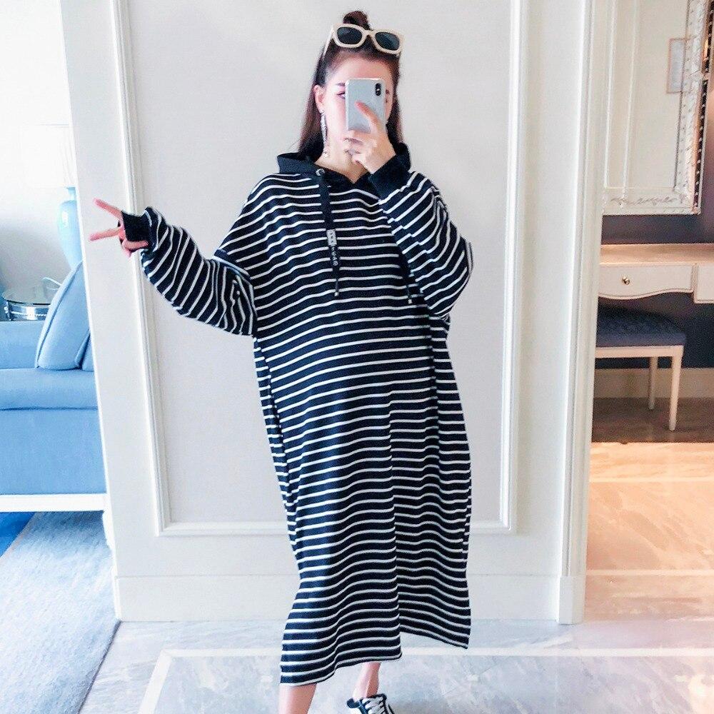 Femmes enceintes robe automne mode 2018 nouveau lâche rayé à manches longues robe de maternité grande taille chandail