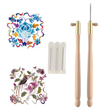 1PC New Hot Wooden Handle Tambour Metal Crochet Hook with 3 Needles Embroidery Beading Crochet Set DIY Craft(China)
