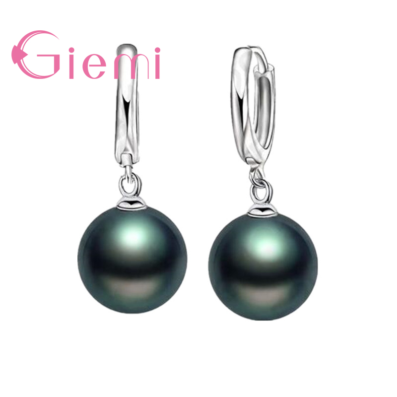 2019 New Classic Round Shape Women Ladies Jewelry 925 Sterling Silver Long Earrings for Girls Birthday Gifts Hot Sale in Stud Earrings from Jewelry Accessories