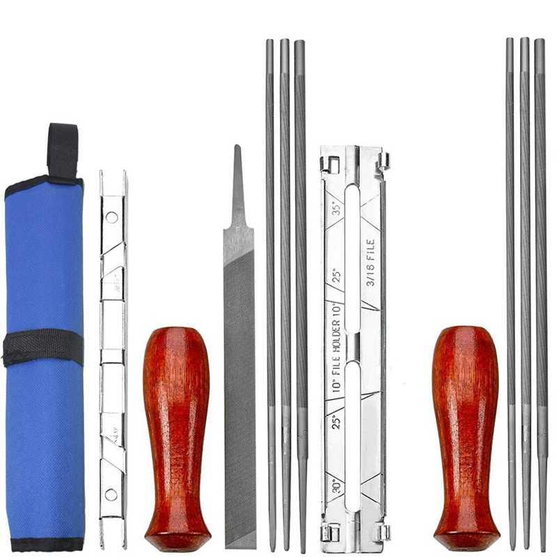Hot 12-Pacote Elétrica Motosserra Kit Madeira Lidar Com Profundidade de Arquivo Lápis Especificação Guia Ferramenta de Arquivo Saco de Arquivo Motosserra Apontador guid