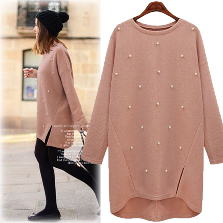 Oversize 4xl Loose Cashmere Sweater Plus Size Women Knitted Pullover Long Sweaters Beading Pearl Coat Autumn Winter Pull Femme