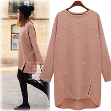 Oversize 4xl Loose Cashmere Sweater Plus Size Women Knitted Pullover Long Sweaters Beading Pearl Coat Autumn Winter Pull Femme недорого