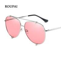 ROUPAI Eyewear Vintage Retro Unisex Sunglasses Women Polarized Lenses UV400 Red Aviator Sunglasses Silver Alloy Frame