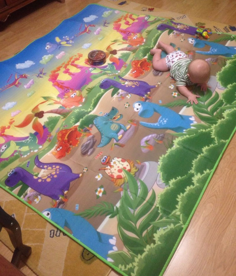 HTB1c45Wa.GF3KVjSZFvq6z nXXaY Baby Play Mat 0.5cm Thick Crawling Mat Double Surface Baby Carpet Rug Animal Car+Dinosaur Developing Mat for Children Game Pad
