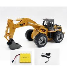 HUINA TOYS 1530 1/18 6CH Alloy RC Excavator Rooter Truck Engineering Construction Car Vehicle with Sound Light Lifting Arm RTR(China)