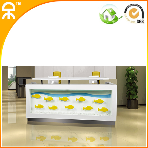 2.4 m modern white reception Cashier desk supplier with marble top #QT2488
