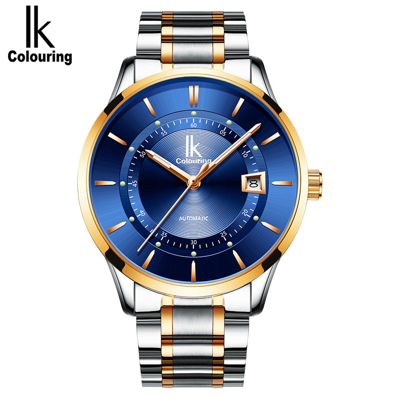 2018 Men's Business Mechanical Automatic Watches Men Ik colouring Blue Luminous Hands Waterproof Self Wind Wrist Watch Clock