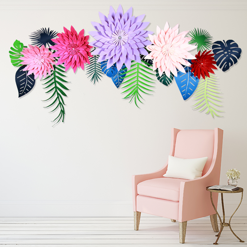 Us 2 86 15 Off 8 Inches Diy 3d Paper Artificial Flower Backdrop Decor Birthday Wedding Decoration Birthday Decor For Home Party Supplies In Wall