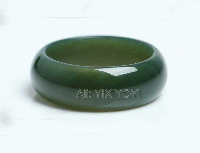 ผู้หญิงที่ยอดเยี่ยม Man's 100% ธรรมชาติสีเขียว HeTian หยกอัญมณีแหวน Lucky แหวน 17-20 มิลลิเมตรเส้นผ่านศูนย์กลางภายในเครื่องประดับฟรีจัดส่ง