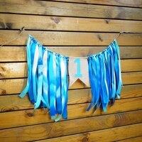 Galabeme 1 Unidades Cinta Azul bandera banderas partido Garland baby shower Bunting niño fiesta de cumpleaños bandera 1st party decor