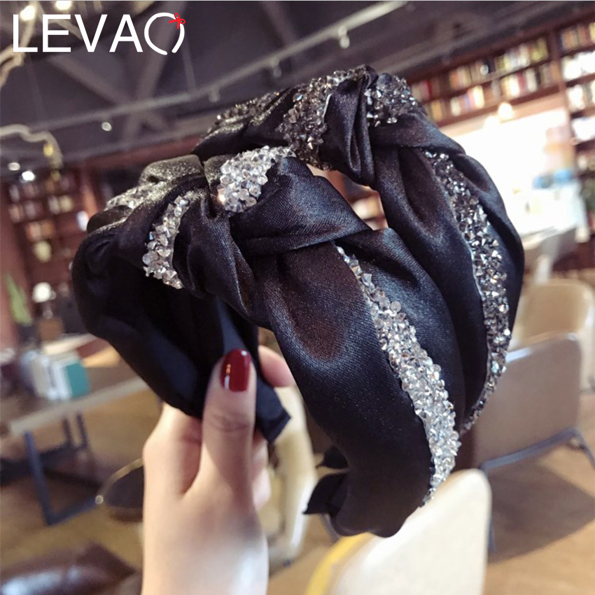 Levao 2019 Chic Rhiestone Hairband Elegant Hair Accessoress Cross Knotted Headband Wide Stain Hair Hoop Bands Bezel Headdress