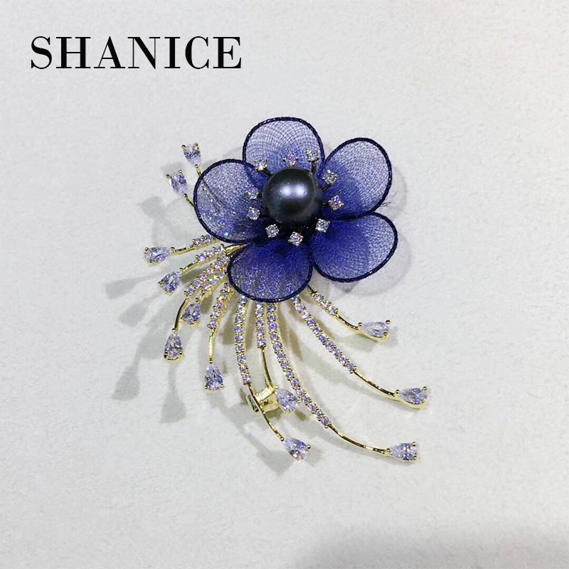 SHANICE Blue Flower Design Tassel Pendant Sweater Chain Brooches Accessories DIY Jewelry Findings Pendant