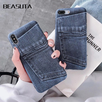 Luxury Jeans matte case For iPhone XS Max Case Business blue Jeans Canvas soft tpu Cover For iPhone xs xr 6 6s 7 8 plus Cases