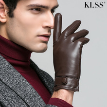 KLSS Brand Genuine Leather Men Gloves Autumn Winter Wrist Buckle Thermal High Quality Business Casual Goatskin Glove J62 new in stock ve j62 iy vi j62 iy