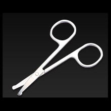 100% New 1pc  Stainless Steel Mini Portable Curved Mustache Nose Ear Hair Remover Scissor Trimmer Safety Tips