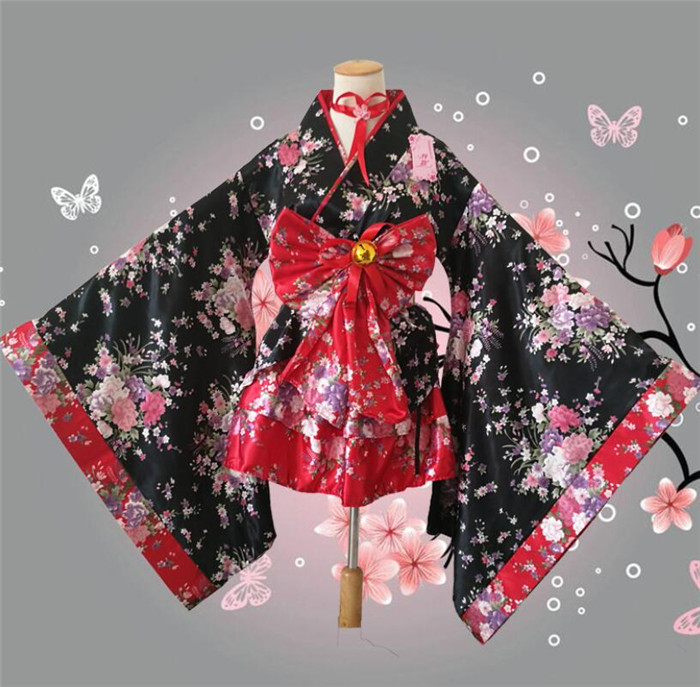 anime cosplay japanese kimono lolita costume red woman child sexy gothic halloween costumes for women dress  A450