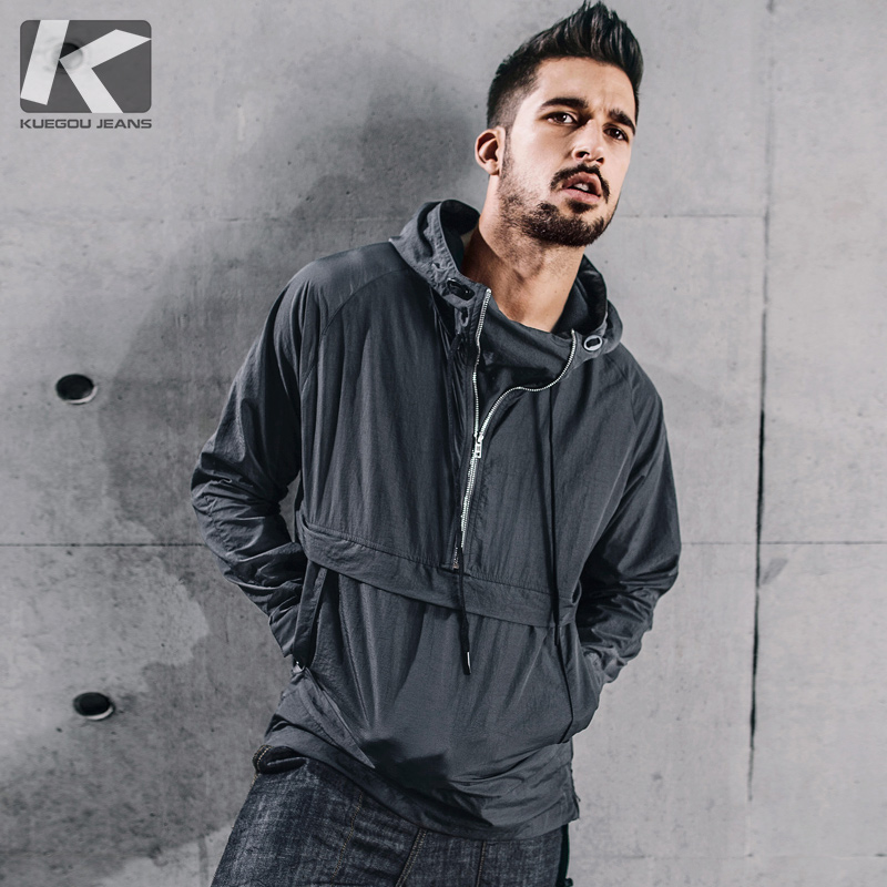KUEGOU New Autumn Mens Pullover Trench Drak Gray Color Hooded Coats Clothing Man's Slim Overcoat Male Windbreaker Jackets 72301