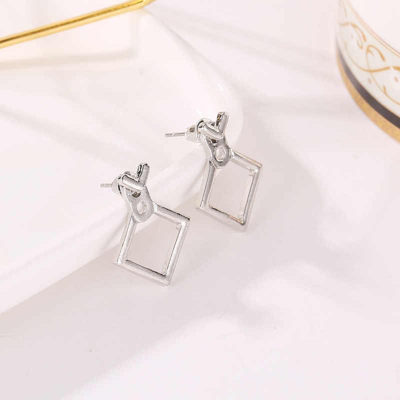 Bunga Kristal Anting-Anting untuk Wanita Fashion Perhiasan Dua Sisi Emas Perak Anting-Anting Hadiah untuk Pesta Teman Terbaik