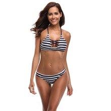 2019 Women's Sexy Bikini Set Push Up Female Swimwear Striped Swimsuit Swimming Separate Two-Piece Brazilian Swimsuit Plus Size