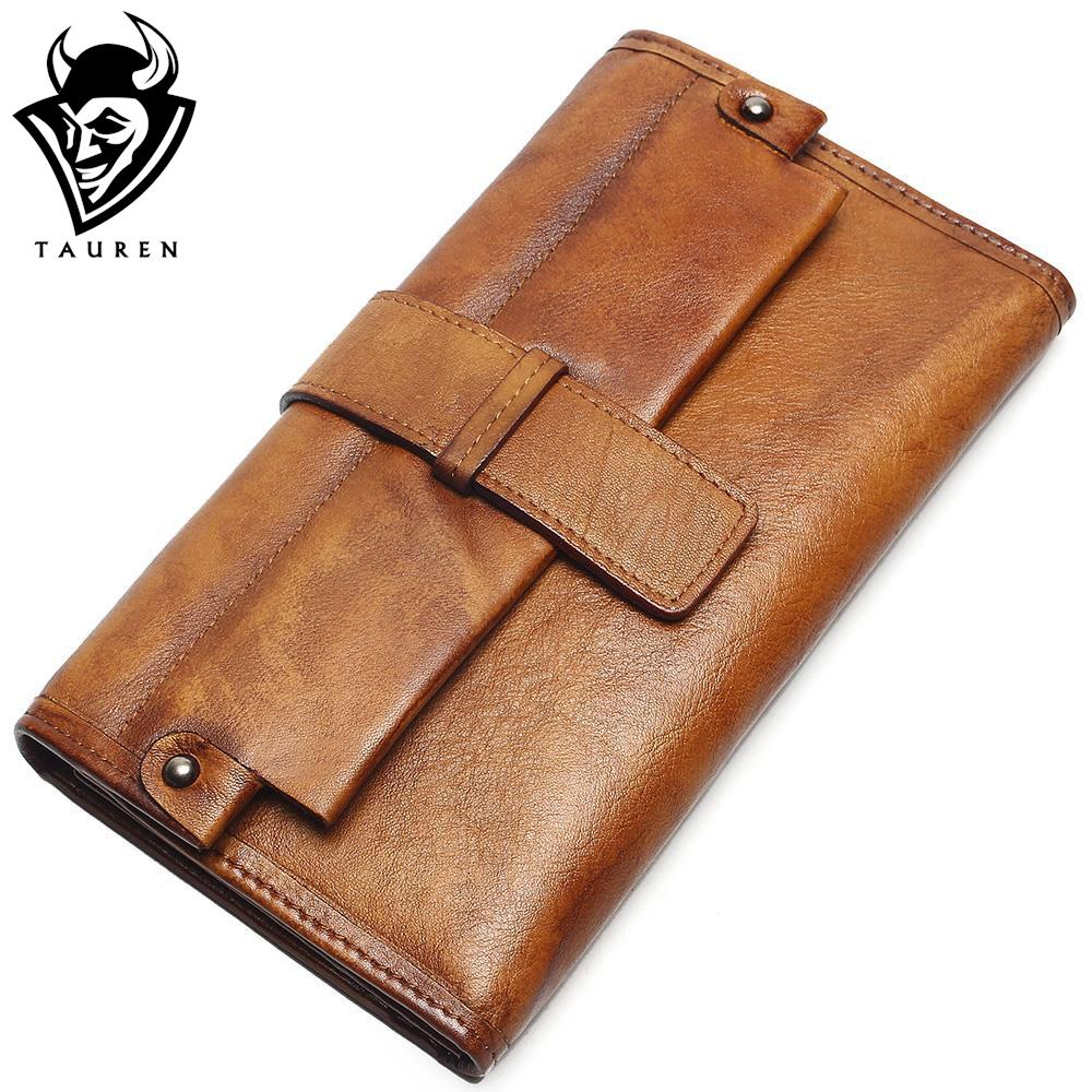 Women Long Hasp Phone Wallet Vintage Genuine Leather Ladies Wallets Retro Paint Purse New European Female Case For Women