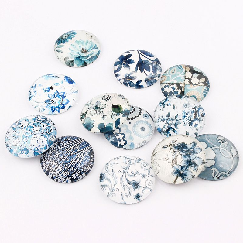 12/16/18/20/25mm Mixed Style Colorful Round Glass Cabochon Dome Jewelry Finding Cameo Pendant Settings 20pcs /lot(China)