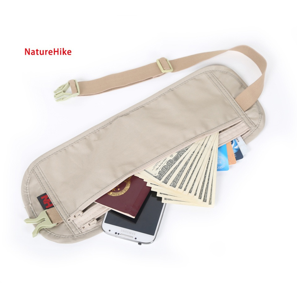 Naturehike Nylon Outdoor Travel Accessories Climbing New Slim Personal Documents Hidden Pockets Close-Fitting Bag 178 1pcs 39cm x 28 5cm 3 pockets zip up nylon faux leather file documents bag holder