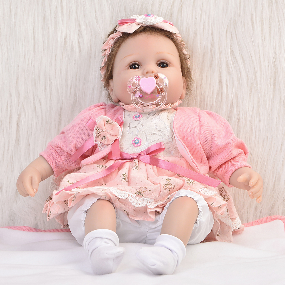 Handmade 17 Inch Baby Girl Dolls Reborn Silicone Cloth Body Newborn Babies Doll Toy With Lovely Clothes Kids Birthday Xmas Gift 22 inches soft silicone reborn baby dolls cloth body real looking newborn alive girl babies boneca toy kids birthday xmas gift