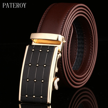 цены PATEROY Belt Men Top Quality Genuine Luxury Leather Belts for Men Designer Strap Male Automatic Buckle Waistband Cinto Masculino