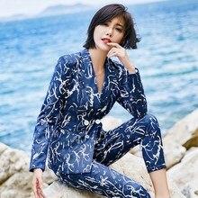 Elegant Floral Print Formal Pant Suit for Women 2 Pieces Blazer