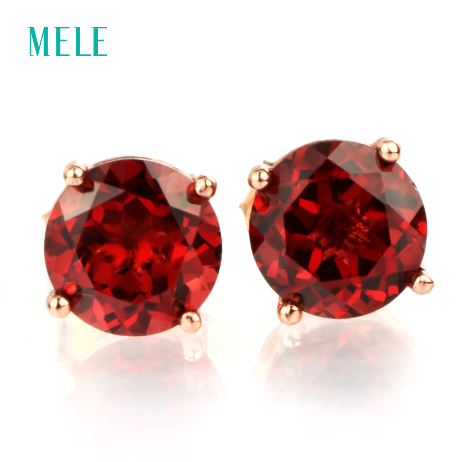 MELE Natural red garnet silver earring, round 6mm*6mm, deep red color and good cutting fire, romantic and elegant style