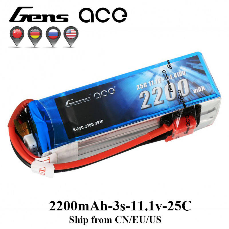 Gens ace 3s Lipo Battery 11.1V 2200mAh Lipo 3S 25C RC Battery Pack Deans Plug for Emax 450 Helicopter Glider Skylark M4-FPV 250 gens ace lipo battery 7 4v 11 1v 800mah lipo 2s 3s 15c rc quadcopter t connector for fixed wing 250 helicopter jst plug