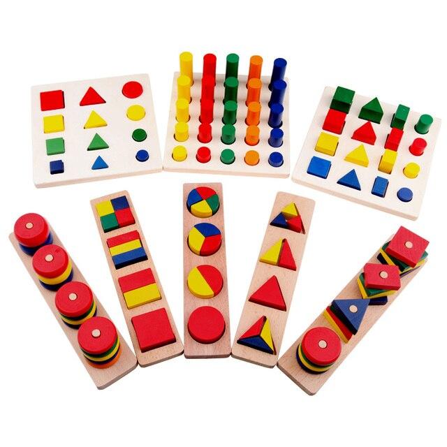 Монтессори цилиндра образовательные развивающие игрушки блок дерево учебных пособий геометрия формы детка обучения портфолио комбинированные, 1 лот = 8 шт.