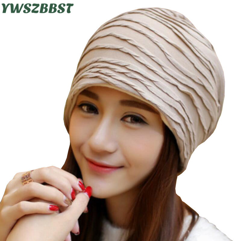 2019 New Fashion Pleated Layered Cap Women Thin   Beanie   Cap Autumn Winter   Skullies     Beanies   Women Hat