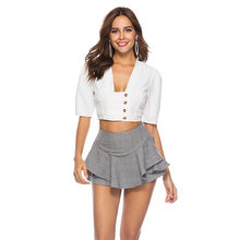 0b9bab203fc480 OOTN Summer White Women Tunic Blouses Female Puff Sleeve Shirt Square  Collar Short Crop Tops Sexy Button Down Clothing 2018