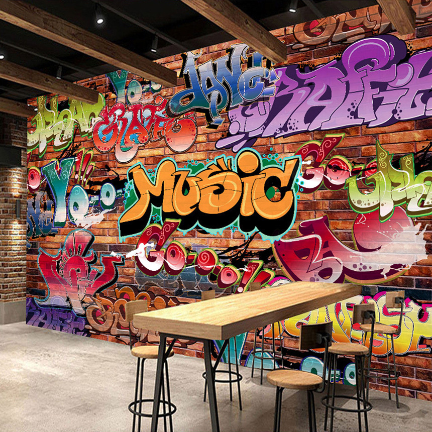 Custom wall mural 3d embossed brick wallpaper graffiti art for Mural graffiti