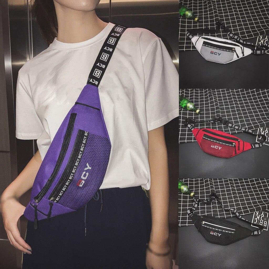 Fashion Neutral Casual Outdoor Zipper Canvas Messenger Bag Sport Chest Bag Waist Bag For Women 2019