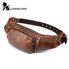 цена на Men's Fanny Waist Pack Casual Chest Bag Phone Purse Cowhide Leather Hook Bum Bag Pouch Waist BeltBag Travel Case LAOSHIZI LUOSEN