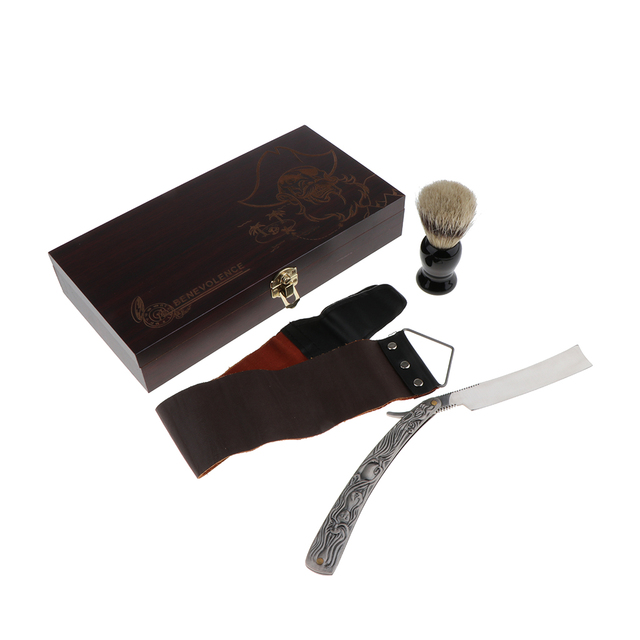 Retro Men's Beard Shave Set Safety Shaving Straight Razors + Brush + Leather Strop + Wooden Storage Box 4